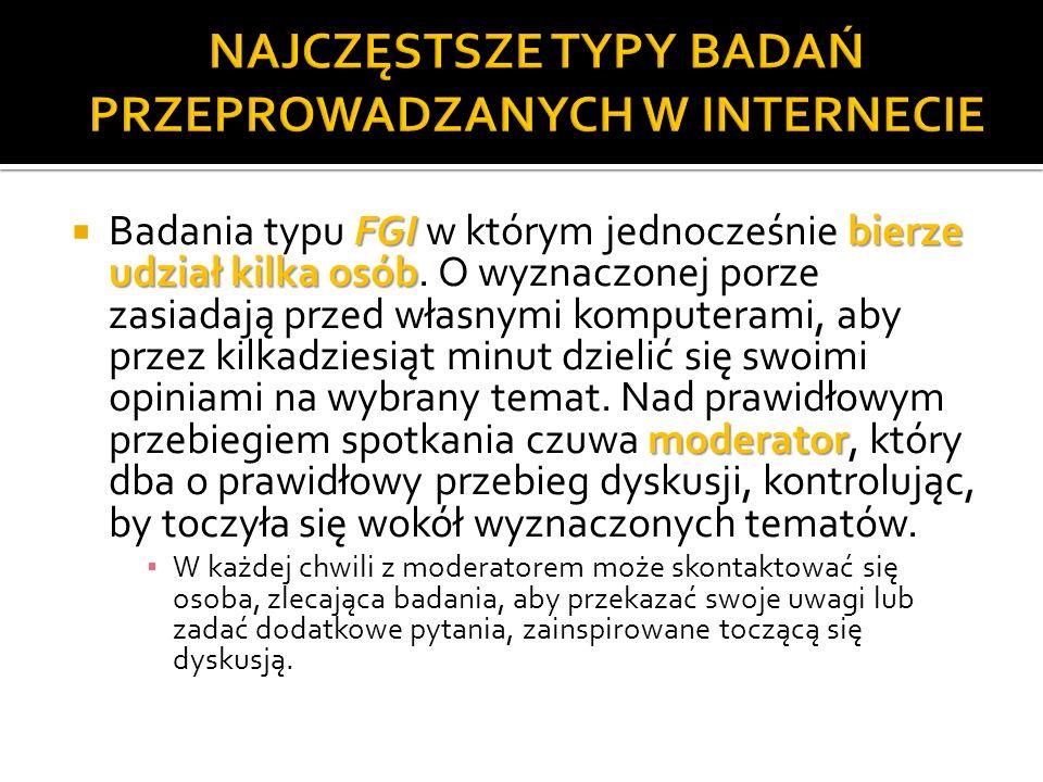 NAJCZĘSTSZE TYPY BADAŃ PRZEPROWADZANYCH W INTERNECIE
