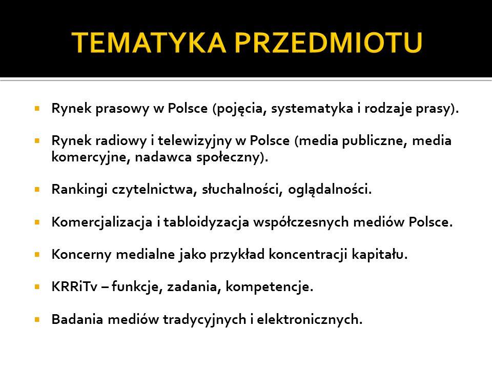 TEMATYKA PRZEDMIOTU Rynek prasowy w Polsce (pojęcia, systematyka i rodzaje prasy).