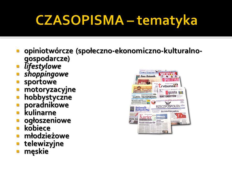 CZASOPISMA – tematyka opiniotwórcze (społeczno-ekonomiczno-kulturalno-gospodarcze) lifestylowe. shoppingowe.