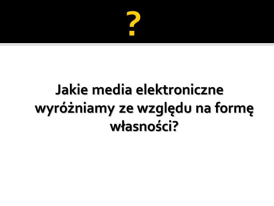 Jakie media elektroniczne wyróżniamy ze względu na formę własności