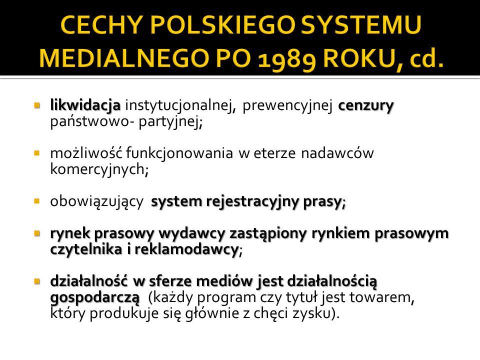 CECHY POLSKIEGO SYSTEMU MEDIALNEGO PO 1989 ROKU, cd.
