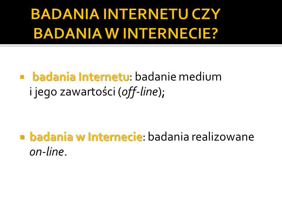 BADANIA INTERNETU CZY BADANIA W INTERNECIE