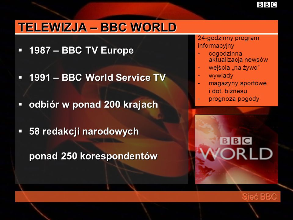 TELEWIZJA – BBC WORLD 1987 – BBC TV Europe 1991 – BBC World Service TV