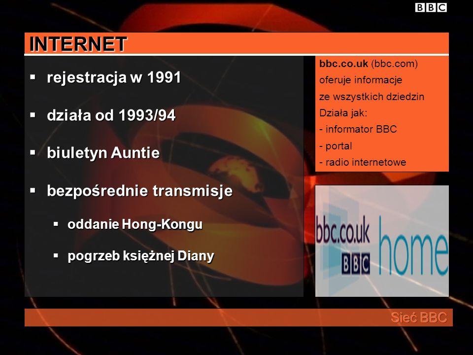 INTERNET rejestracja w 1991 działa od 1993/94 biuletyn Auntie
