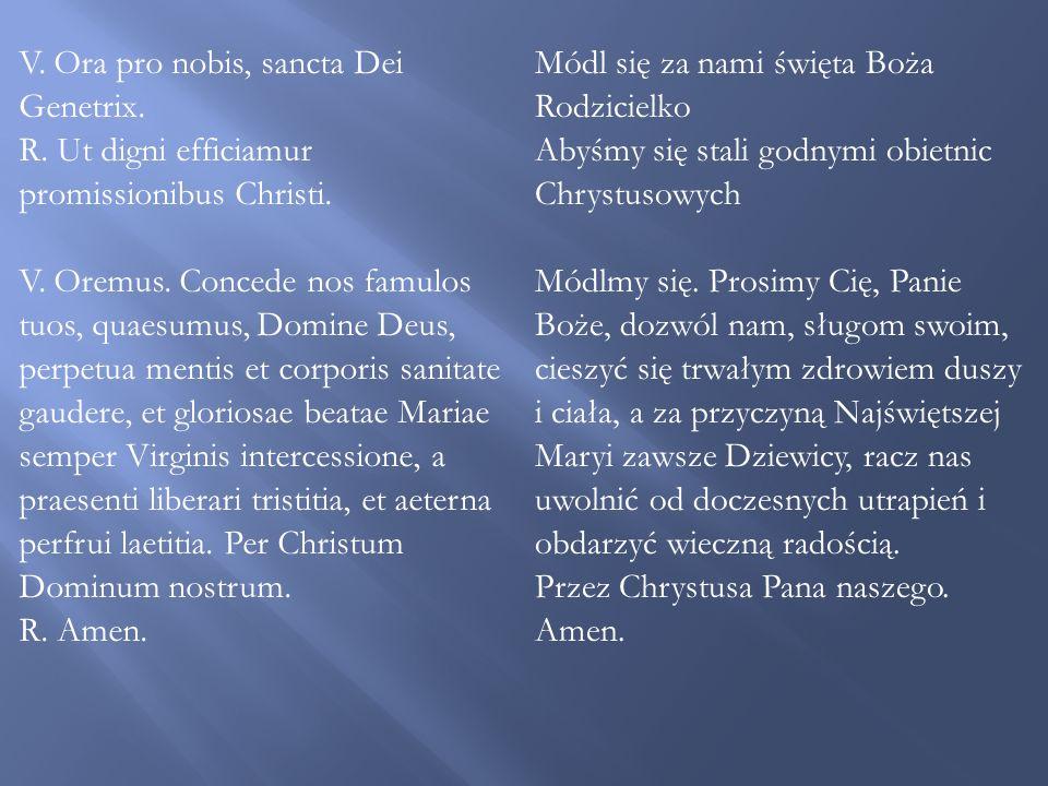 V. Ora pro nobis, sancta Dei Genetrix.