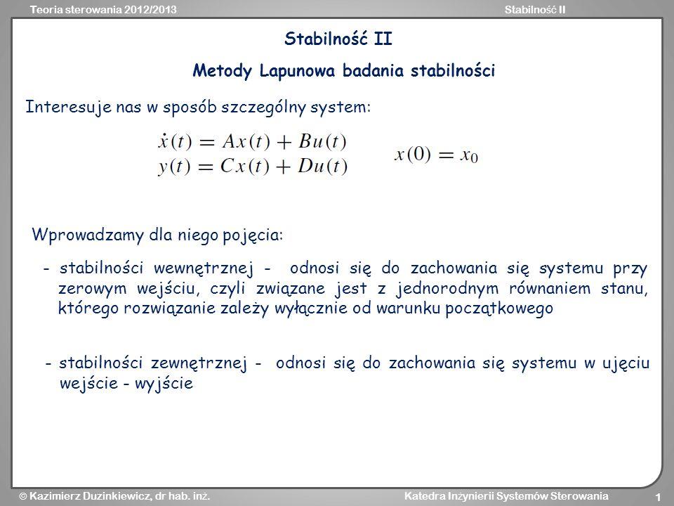Metody Lapunowa badania stabilności