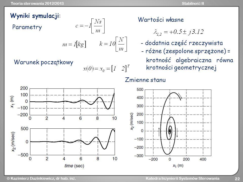 Wyniki symulacji: Wartości własne. Parametry. - dodatnia część rzeczywista. - różne (zespolone sprzężone) =