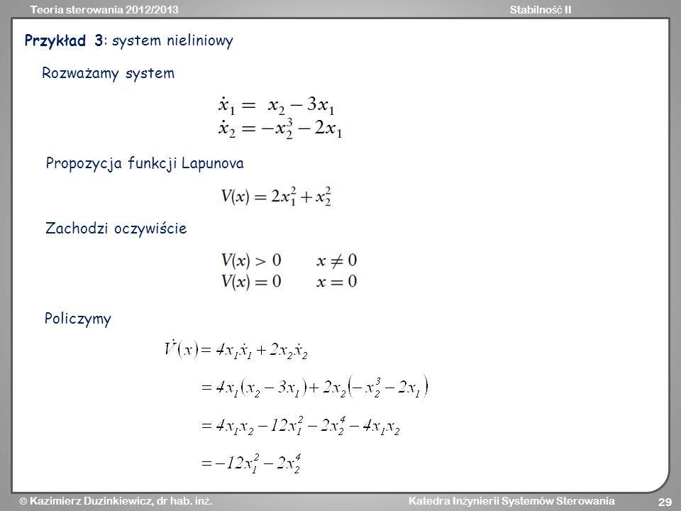 Przykład 3: system nieliniowy