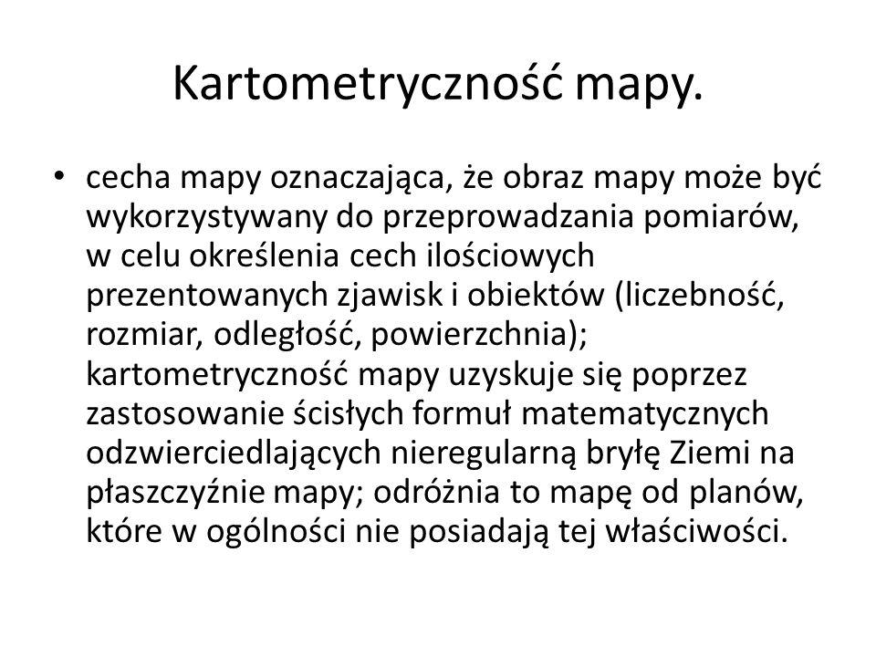 Kartometryczność mapy.