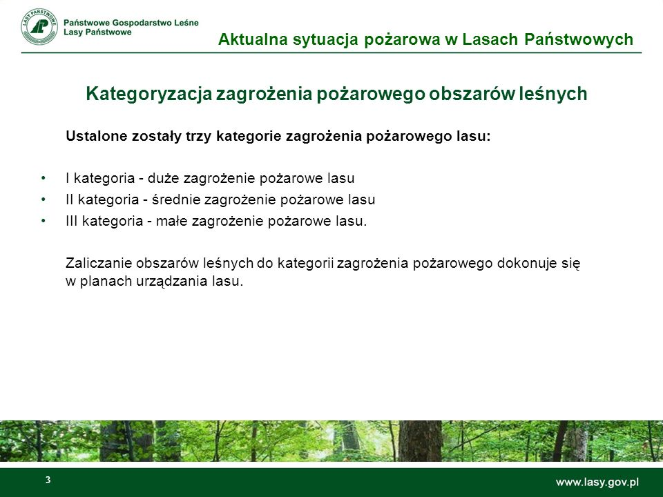 Kategoryzacja zagrożenia pożarowego obszarów leśnych