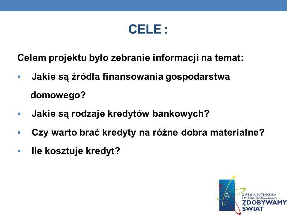Cele : Celem projektu było zebranie informacji na temat: