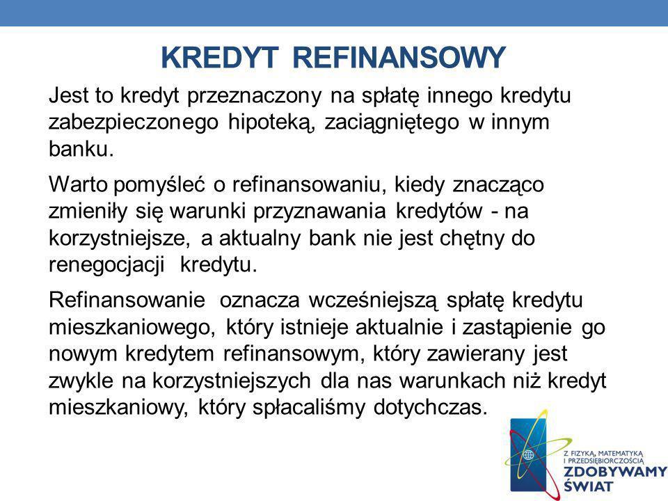 Kredyt refinansowy Jest to kredyt przeznaczony na spłatę innego kredytu zabezpieczonego hipoteką, zaciągniętego w innym banku.