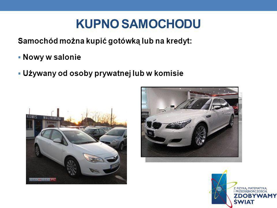 Kupno samochodu Samochód można kupić gotówką lub na kredyt: