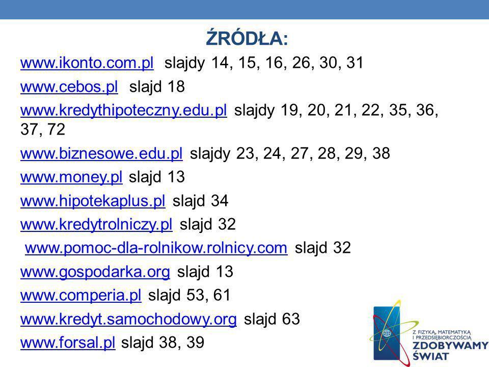 Źródła: www.ikonto.com.pl slajdy 14, 15, 16, 26, 30, 31