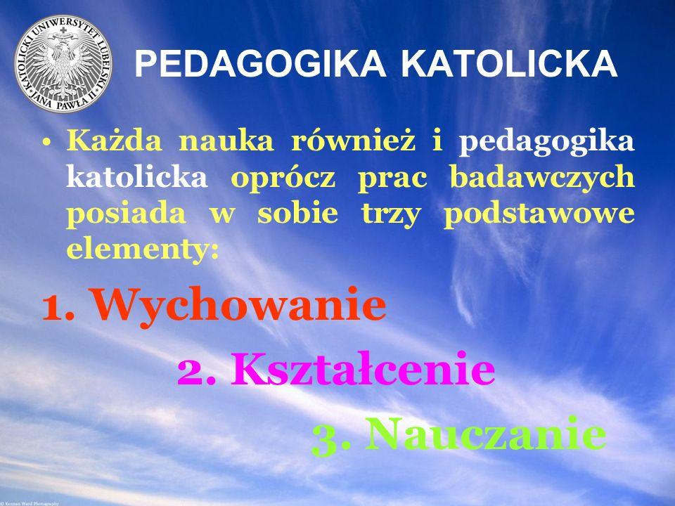 1. Wychowanie 2. Kształcenie 3. Nauczanie PEDAGOGIKA KATOLICKA