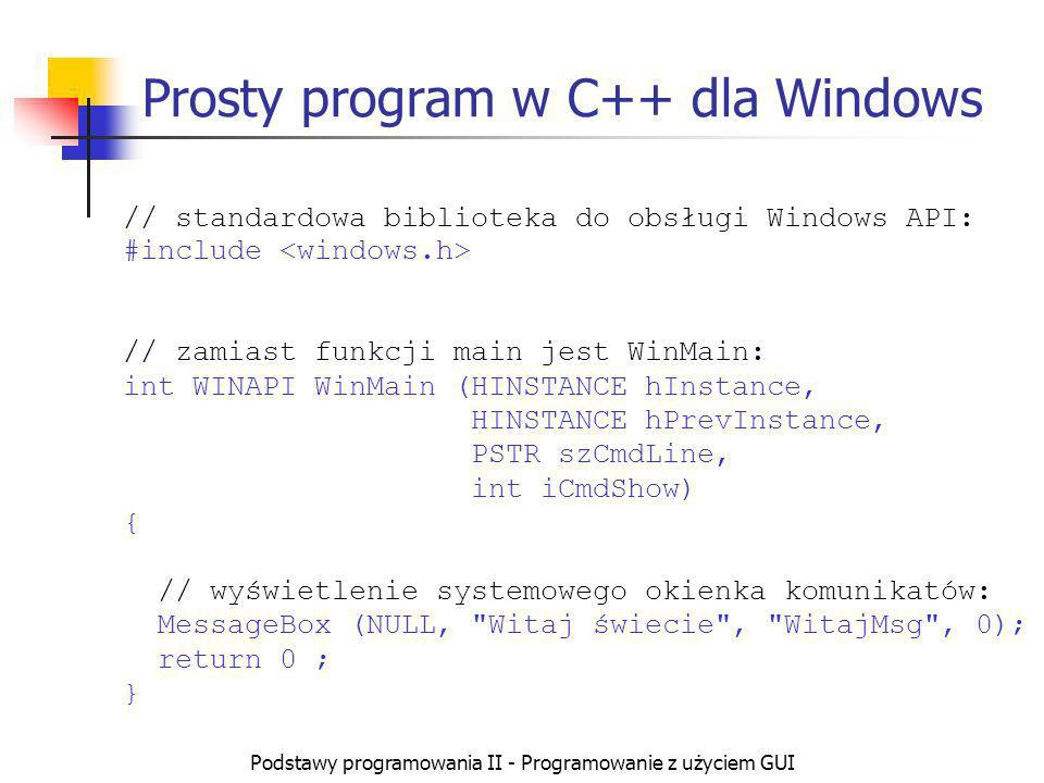 Prosty program w C++ dla Windows