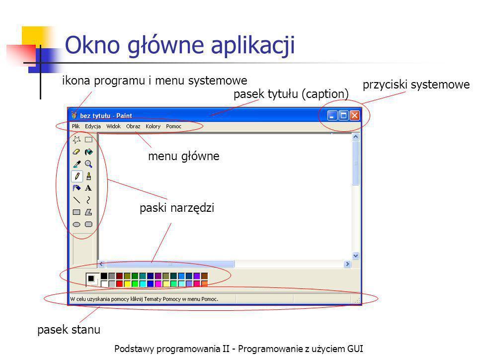 Okno główne aplikacji ikona programu i menu systemowe