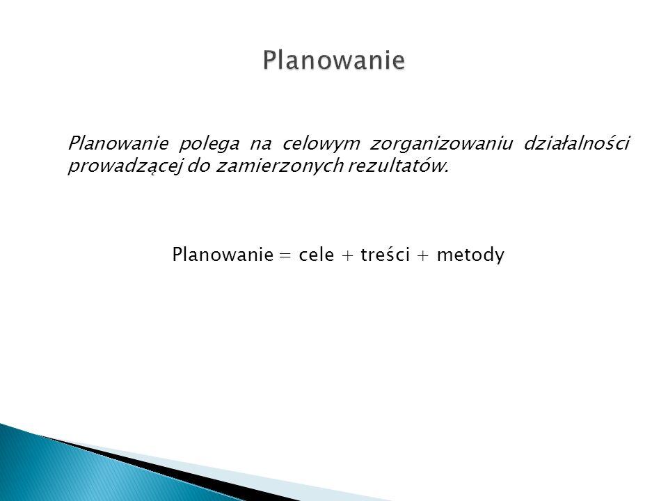 Planowanie = cele + treści + metody