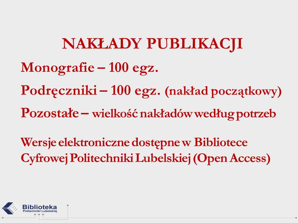 NAKŁADY PUBLIKACJI Monografie – 100 egz.