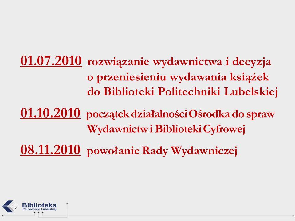 01.07.2010 rozwiązanie wydawnictwa i decyzja o przeniesieniu wydawania książek do Biblioteki Politechniki Lubelskiej