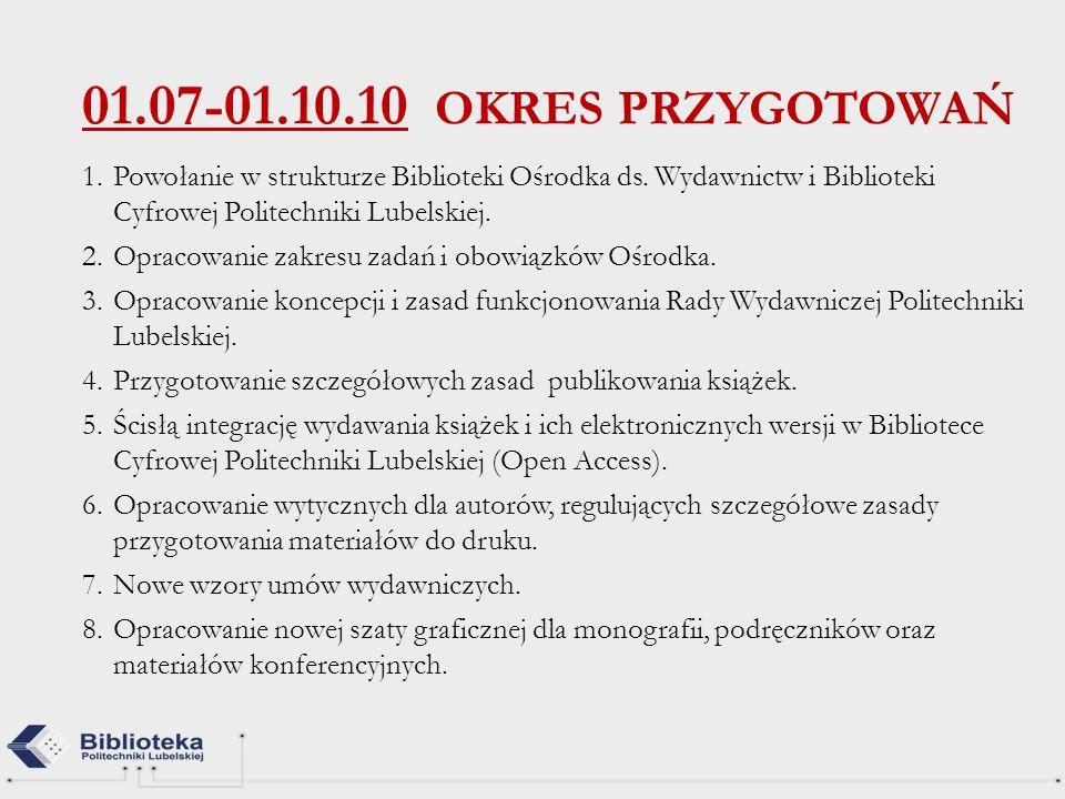 01.07-01.10.10 OKRES PRZYGOTOWAŃ Powołanie w strukturze Biblioteki Ośrodka ds. Wydawnictw i Biblioteki Cyfrowej Politechniki Lubelskiej.
