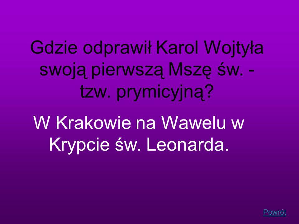 W Krakowie na Wawelu w Krypcie św. Leonarda.