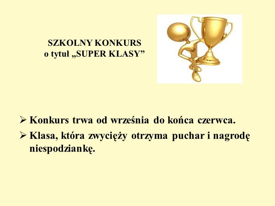 """SZKOLNY KONKURS o tytuł """"SUPER KLASY"""