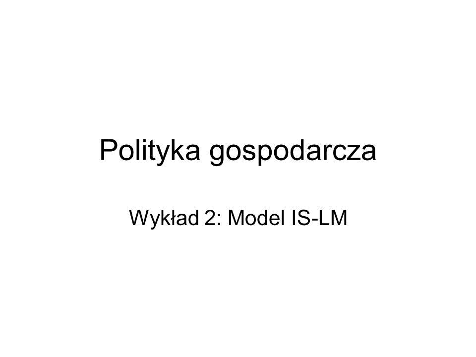 Polityka gospodarcza Wykład 2: Model IS-LM