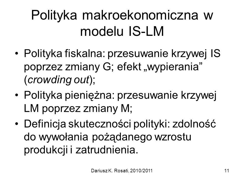 Polityka makroekonomiczna w modelu IS-LM