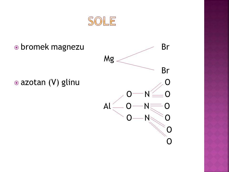 Sole bromek magnezu Br. Mg. Br. azotan (V) glinu O.