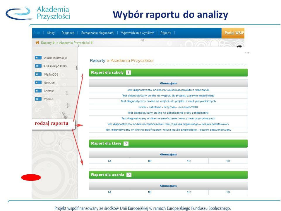 Wybór raportu do analizy