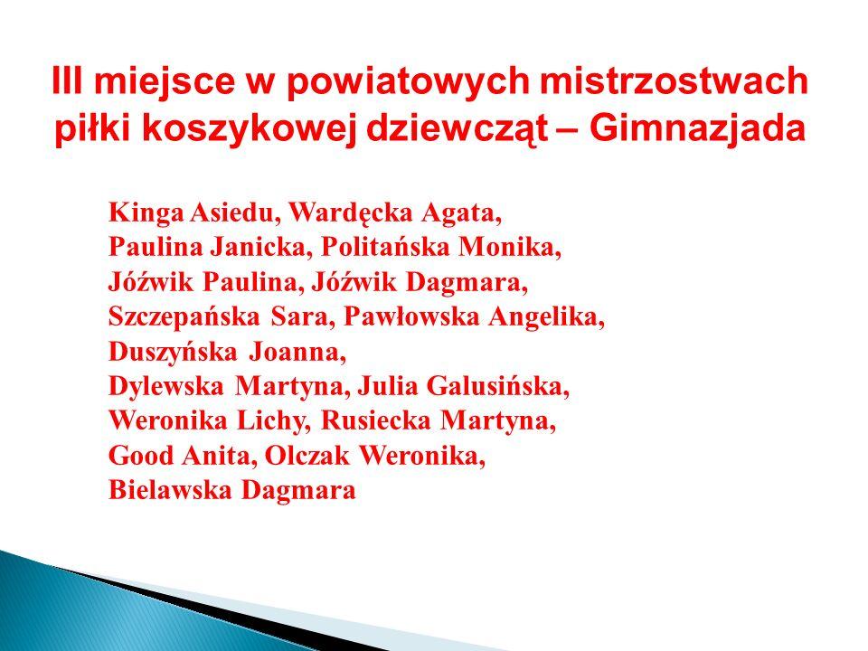 III miejsce w powiatowych mistrzostwach piłki koszykowej dziewcząt – Gimnazjada