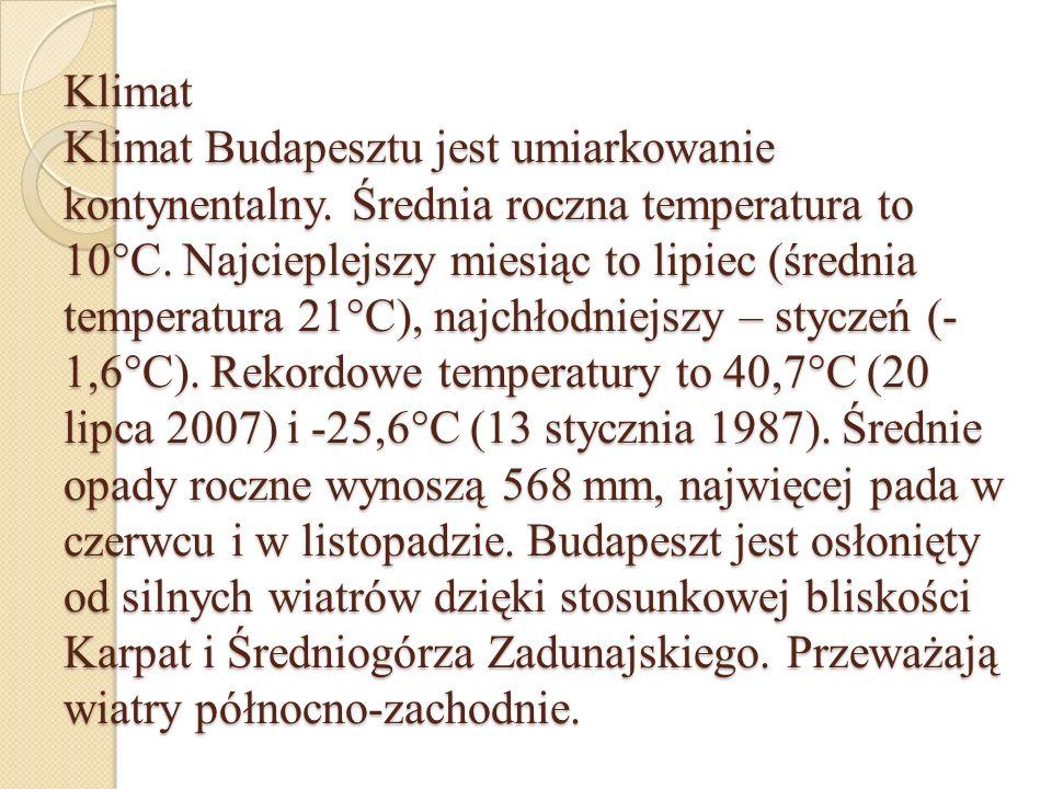 Klimat Klimat Budapesztu jest umiarkowanie kontynentalny