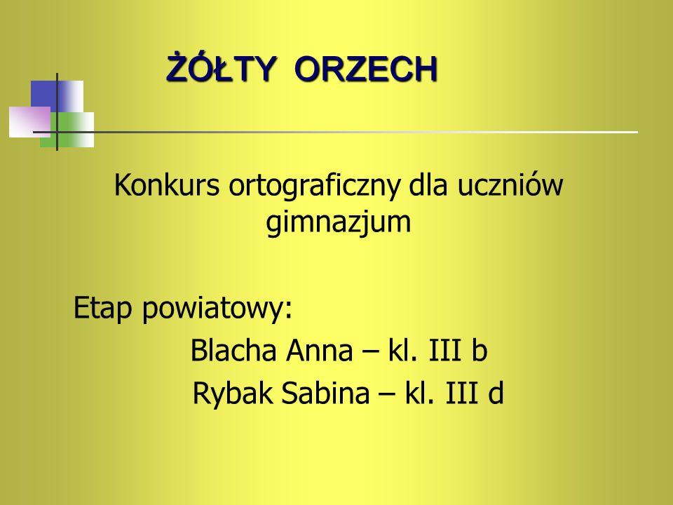 Konkurs ortograficzny dla uczniów gimnazjum