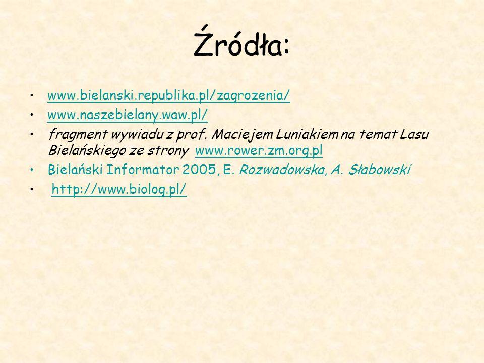 Źródła: www.bielanski.republika.pl/zagrozenia/