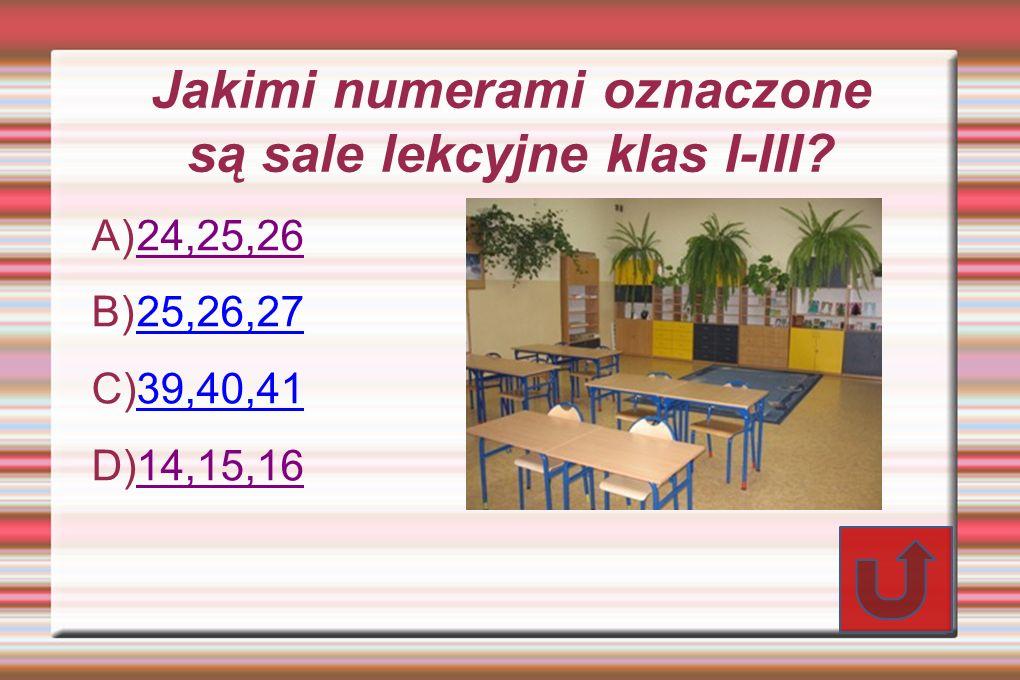 Jakimi numerami oznaczone są sale lekcyjne klas I-III