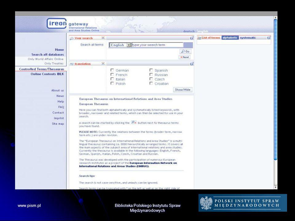 Biblioteka PISM Działalność międzynarodowa