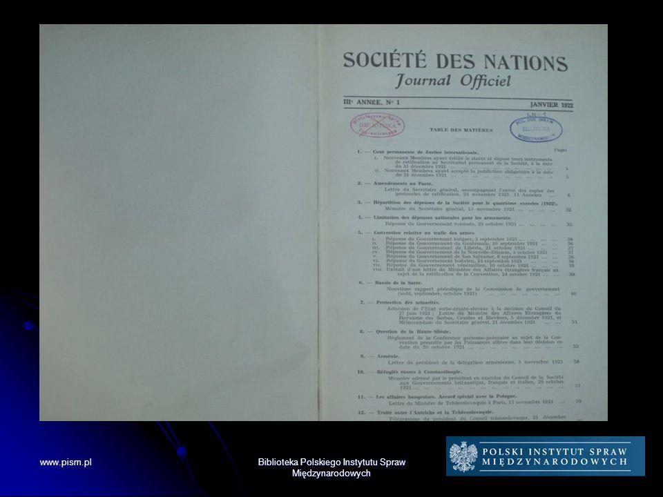 Kolekcje Biblioteki PISM Dokumenty Ligi Narodów