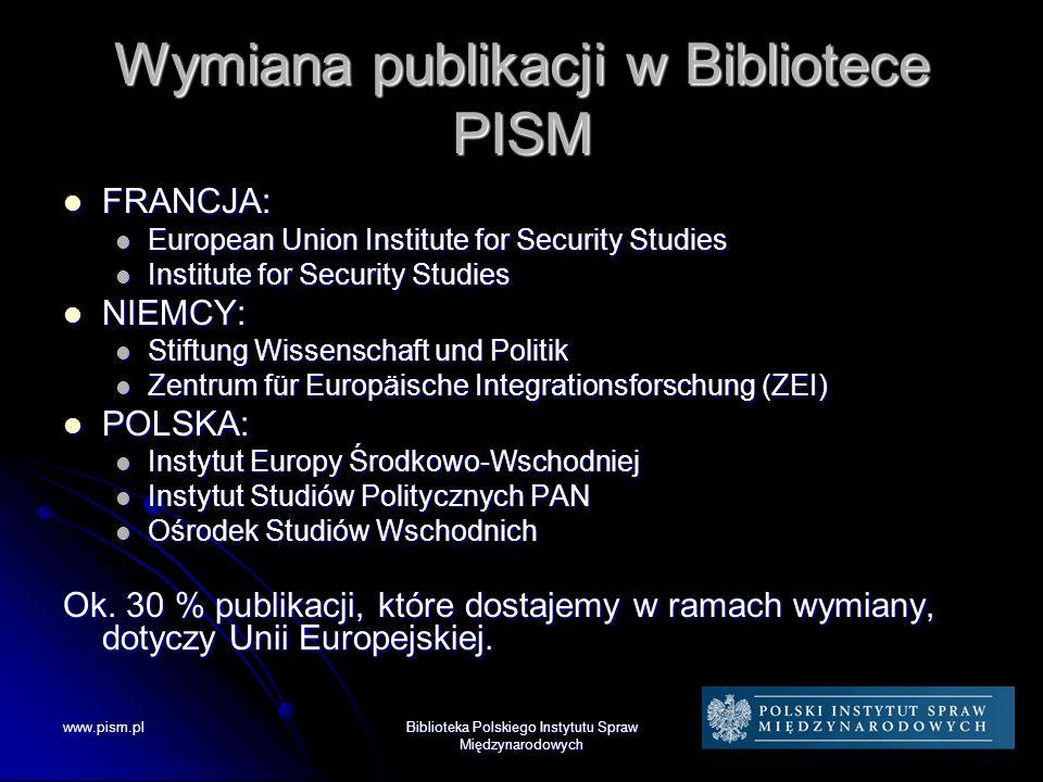 Wymiana publikacji w Bibliotece PISM