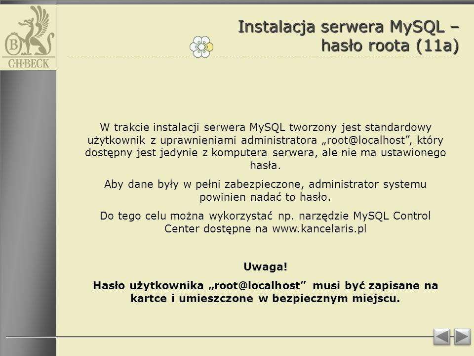 Instalacja serwera MySQL – hasło roota (11a)