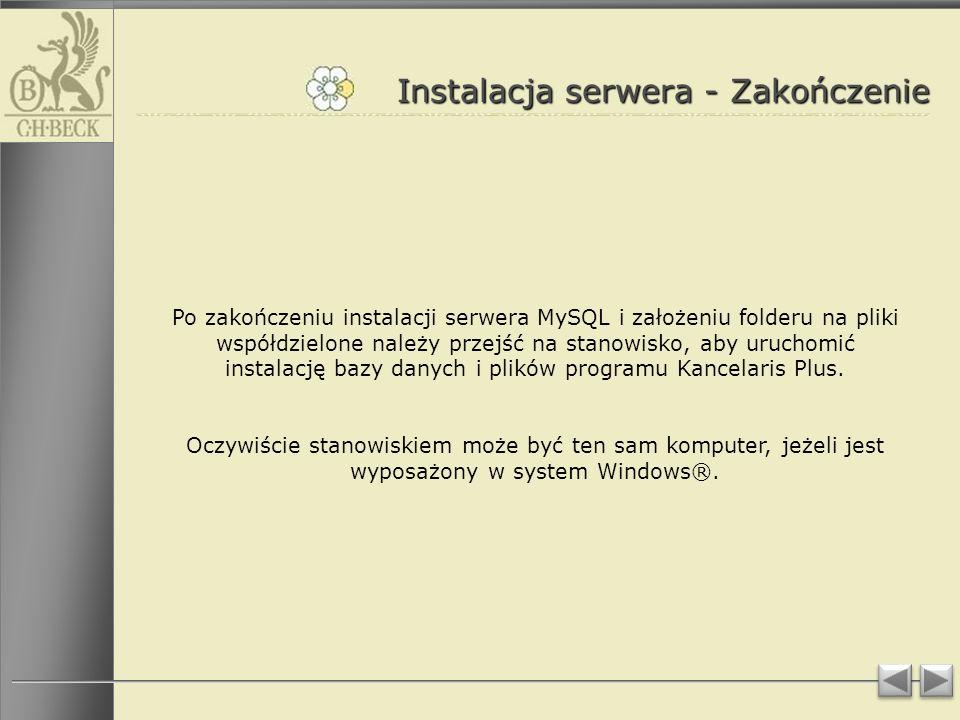 Instalacja serwera - Zakończenie
