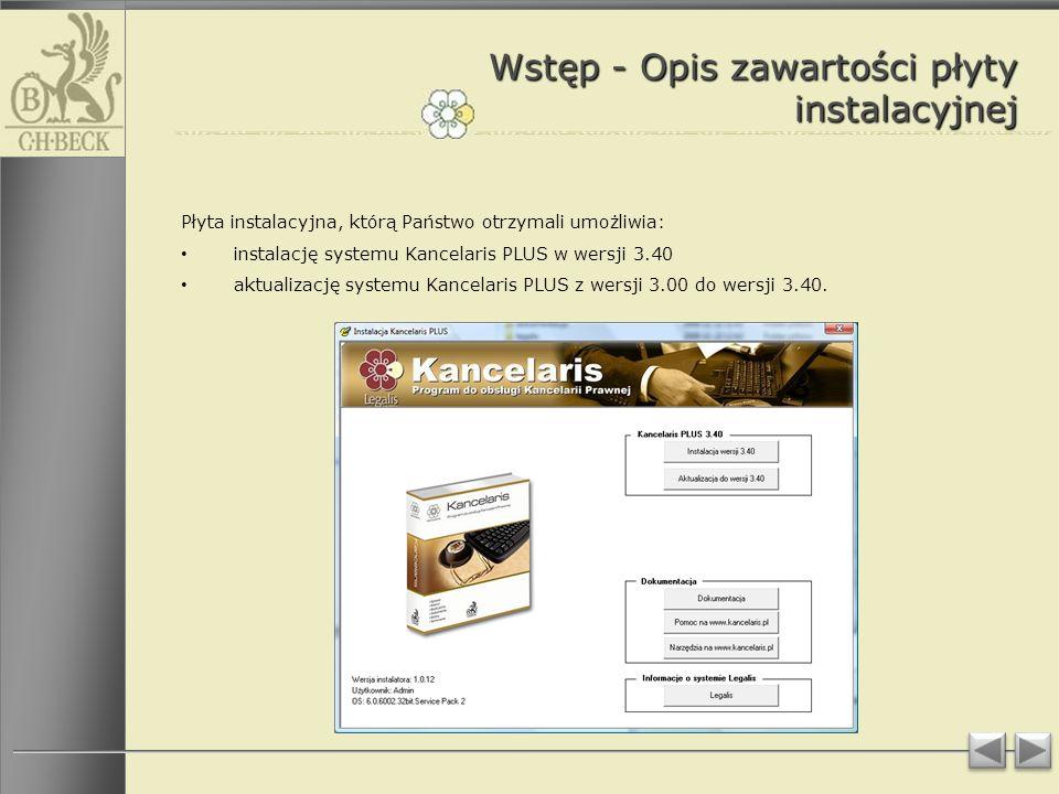 Wstęp - Opis zawartości płyty instalacyjnej