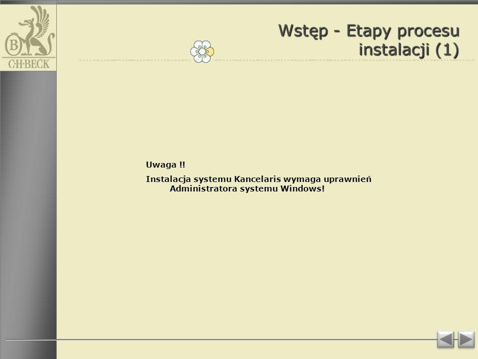 Wstęp - Etapy procesu instalacji (1)