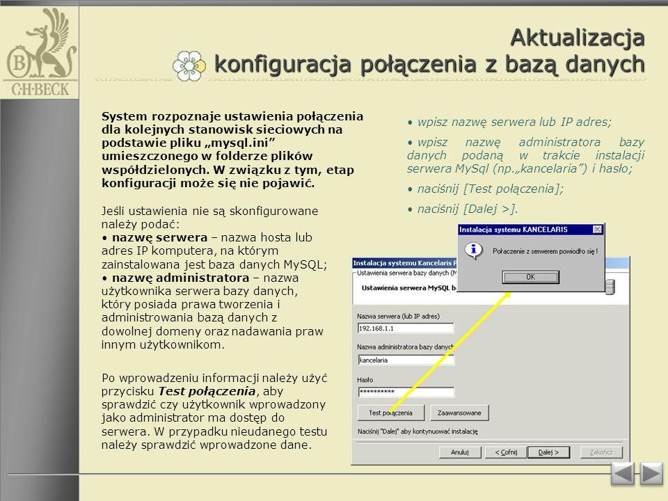 Aktualizacja konfiguracja połączenia z bazą danych