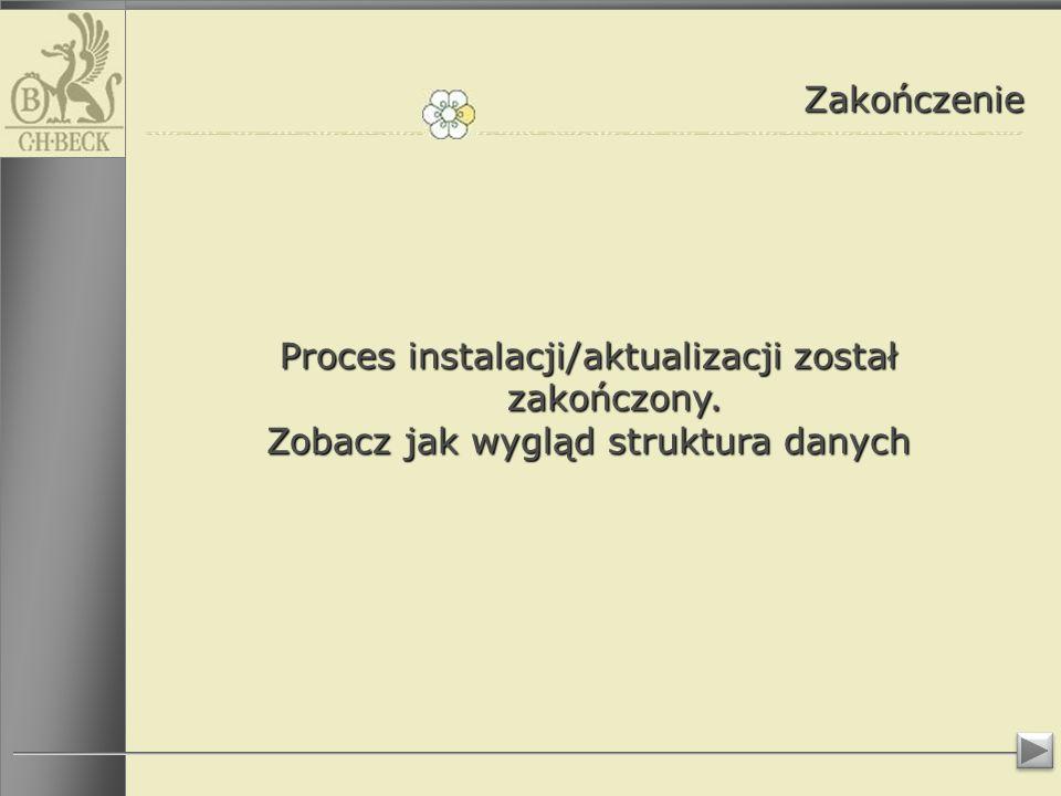 Proces instalacji/aktualizacji został zakończony.