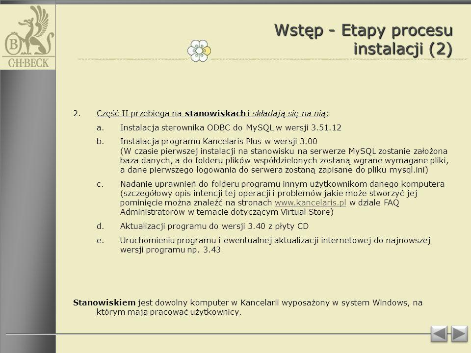Wstęp - Etapy procesu instalacji (2)