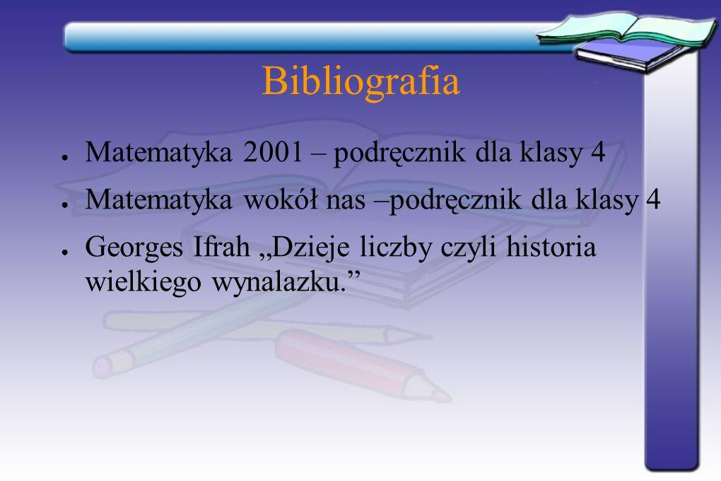 Bibliografia Matematyka 2001 – podręcznik dla klasy 4