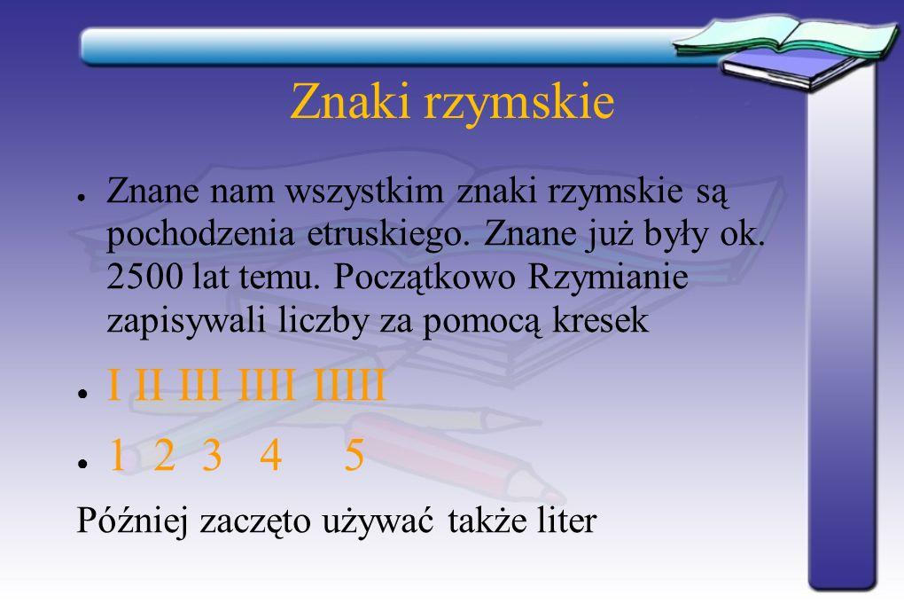 Znaki rzymskie I II III IIII IIIII 1 2 3 4 5