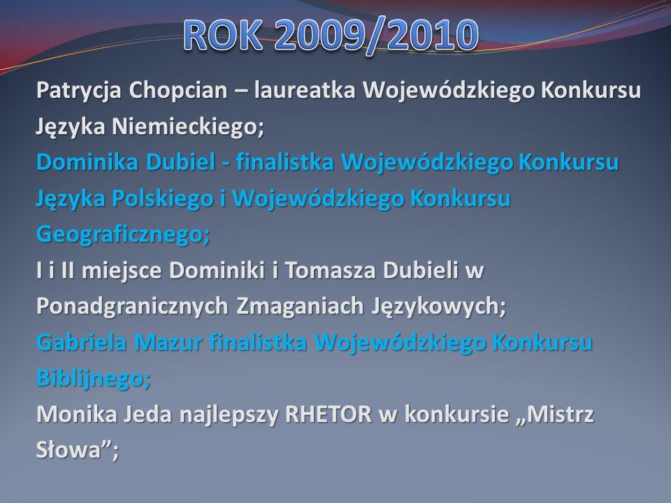 Patrycja Chopcian – laureatka Wojewódzkiego Konkursu Języka Niemieckiego;
