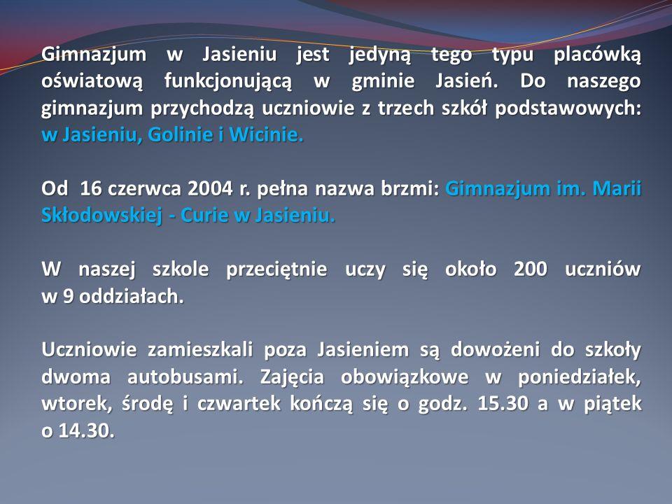 Gimnazjum w Jasieniu jest jedyną tego typu placówką oświatową funkcjonującą w gminie Jasień. Do naszego gimnazjum przychodzą uczniowie z trzech szkół podstawowych: w Jasieniu, Golinie i Wicinie.